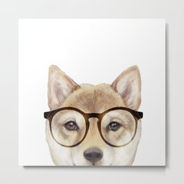 Shiba inu with glasses Dog illustration original painting print Metal Print