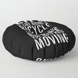 Life is like riding a bicycle. Black Background. Floor Pillow