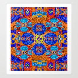 Vibrant Rug Motif Quilt Design Art Print