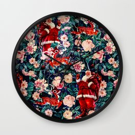 Santa Claus and Floral Pattern Wall Clock