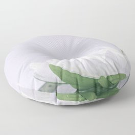 white lotus flower in a green bowl; wisteria white background Floor Pillow