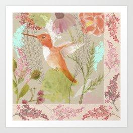Humming Bird in the Garden  Art Print