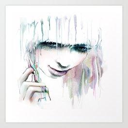 Watercolor Beautiful Girl Art Print