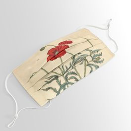 "Red Poppy by Elizabeth Blackwell from ""A Curious Herbal,"" 1737 (benefits The Nature Conservancy) Face Mask"