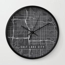 Salt Lake City Map, USA - Gray Wall Clock