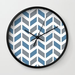 Blue, gray and white chevron pattern Wall Clock