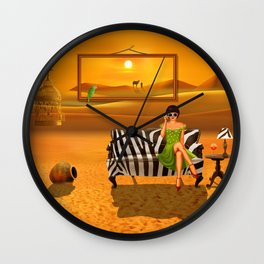 Exotic living in the desert Wall Clock