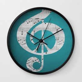 Music & Peace Aqua Sheets Wall Clock