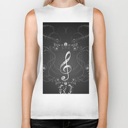 Clef with floral elements Biker Tank