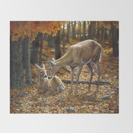 Whitetail Deer and Fawn in Autumn Throw Blanket