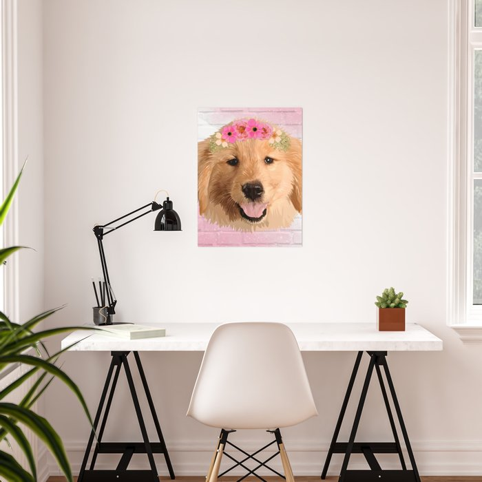 Golden Retriever with Flower Poster