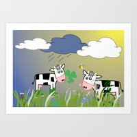 cows Art Prints featuring Cows by LoRo  Art & Pictures