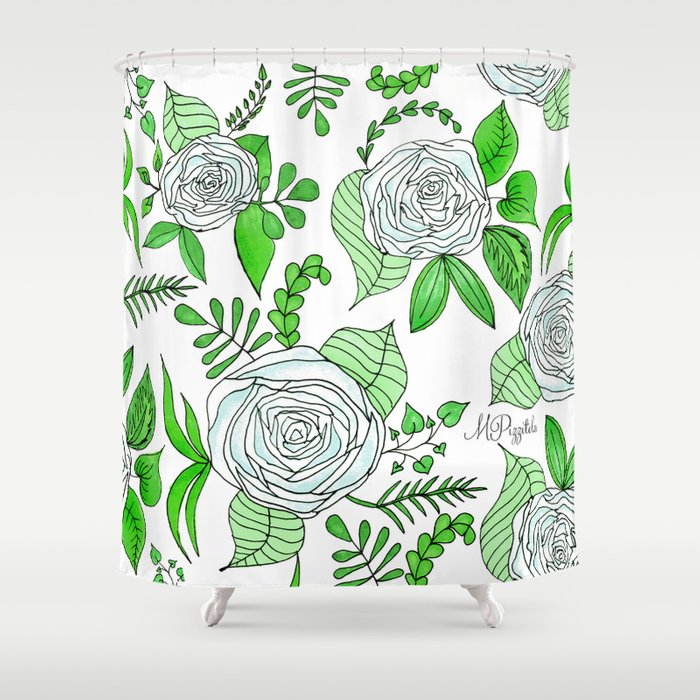 Sky + Lime // Floral Print Shower Curtain by pizzazzdesign | Society6