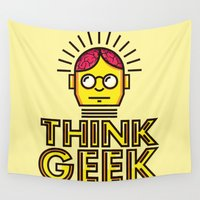 geek Wall Tapestries featuring Think Geek by ohzemesmo