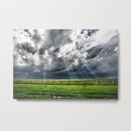 Beams - Sunbeams Illuminate Colorado Landscape On Stormy Day Metal Print