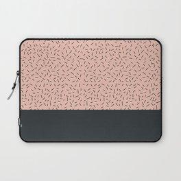 Navy little stripes on pale pink Laptop Sleeve