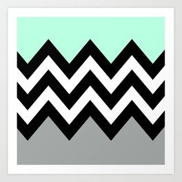 DOUBLE COLORBLOCK CHEVRON {MINT/BLACK/GRAY} Art Print