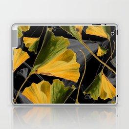 Yellow Ginkgo Leaves on Black Laptop & iPad Skin