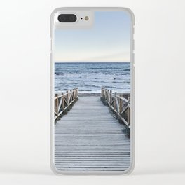"""Walking to the beach....."" At sunset Clear iPhone Case"