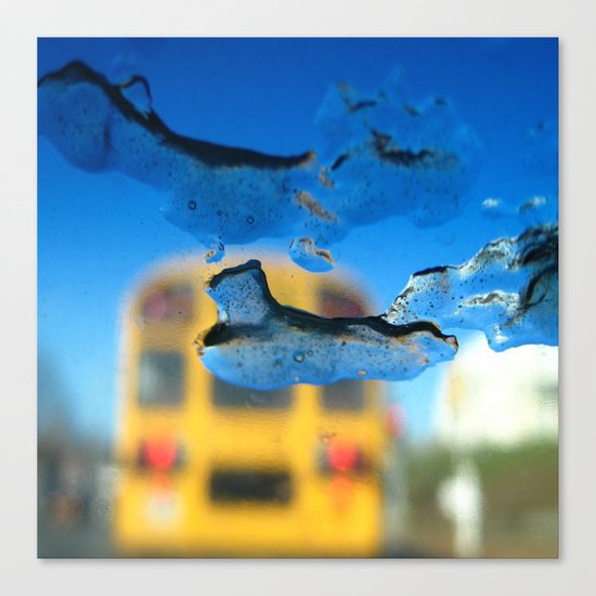 yellow bus and ice photography Canvas Print
