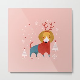 Merry Christmas Dog Card 3 Metal Print