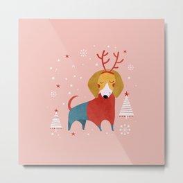 Merry Christmas Dog Card 3 Metal Print