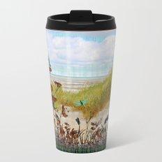 Plaid Beachscape with Dragonflies Metal Travel Mug