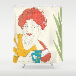 breakfast minimal line art Shower Curtain