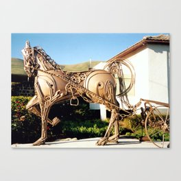 Horse & Plough by Shimon Drory Canvas Print