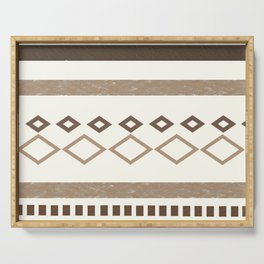 Western Pattern, Out West, Patterns, Brown, Tan, Beige, Shapes, Geometric Western Art Serving Tray