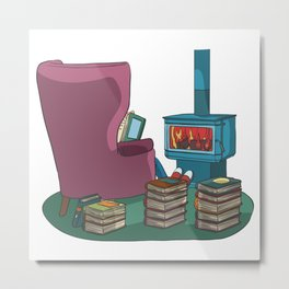 Reading books in armchair at stove Metal Print