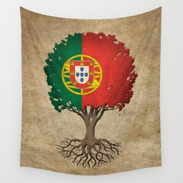 Vintage Tree of Life with Flag of Portugal Wall Tapestry