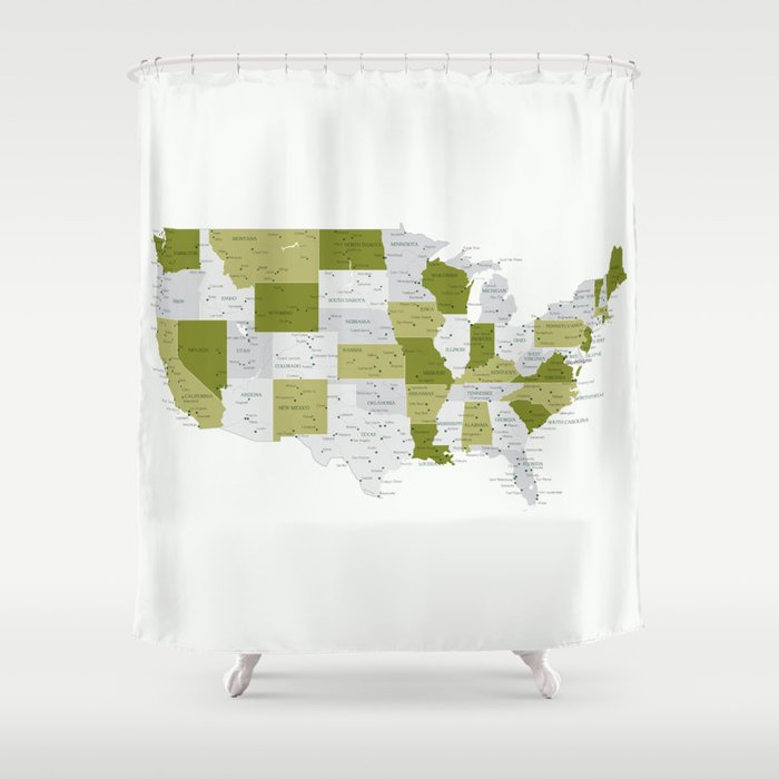 Green And Grey USA Map With Labels Shower Curtain By Blursbyaishop