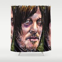 daryl dixon Shower Curtains featuring The Walking Dead Daryl dixon by Steven Burch