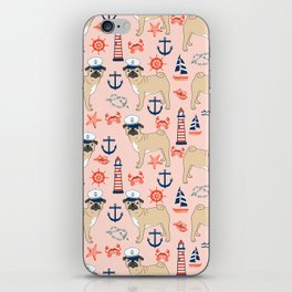 Pug nautical anchor sailing lighthouses dog breed pet portraits by pet friendly iPhone Skin
