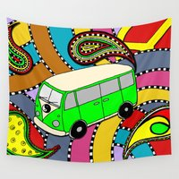 vw bus Wall Tapestries featuring Trippy VW-Style Love Bus Campervan - Green by Carrie at Dendryad Art
