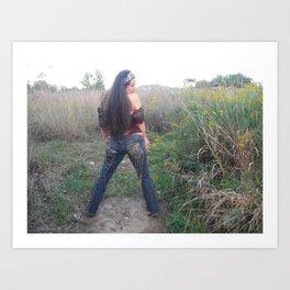 funky embellished jeans by ladykashmir Art Print