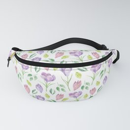 Crocus Purple Watercolor Spring Floral Pattern White Fanny Pack