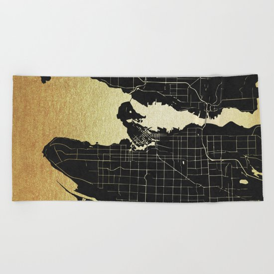 Vancouver Canada Black and Gold Map Beach Towel