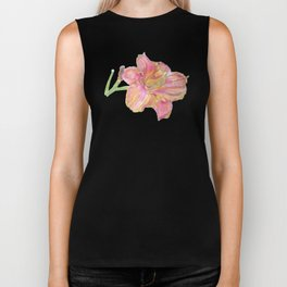 Pink and Yellow Lily Flower Drawing Biker Tank