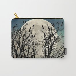 Black Birds Crow Raven Tree Moon Teal Blue Sky Art A541 Carry-All Pouch