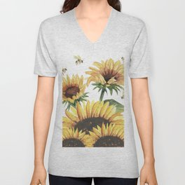 Sunflowers and Honey Bees Unisex V-Neck