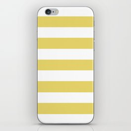 Arylide yellow - solid color - white stripes pattern iPhone Skin