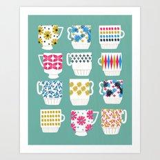 Vintage Teacups - Mid Century, Retro Teacups in pop colors by Andrea Lauren Art Print