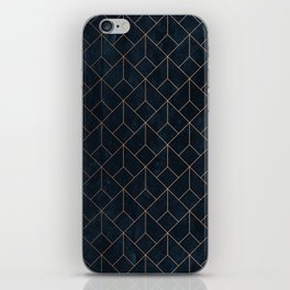 Gold Art deco on Navy ink iPhone Skin