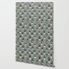 Houseplants Illustration (grey background) Wallpaper