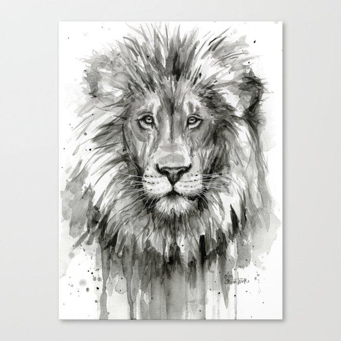 Lion Watercolor Animal Canvas Print