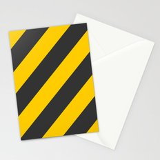 Stripes Diagonal Black & Yellow Stationery Cards