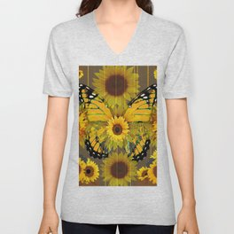 SUNFLOWER BOTANICALS YELLOW MONARCH BUTTERFLY Unisex V-Neck