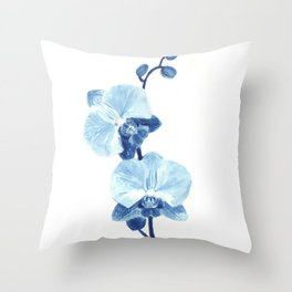 Orchid watercolor painting Throw Pillow